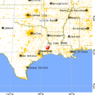 Kirbyville, TX (75956) map from a distance