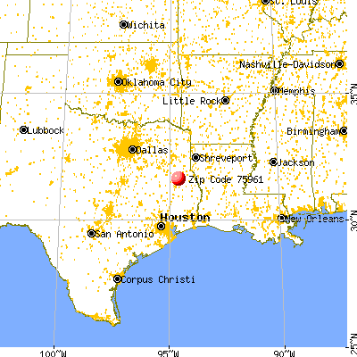 Nacogdoches, TX (75961) map from a distance