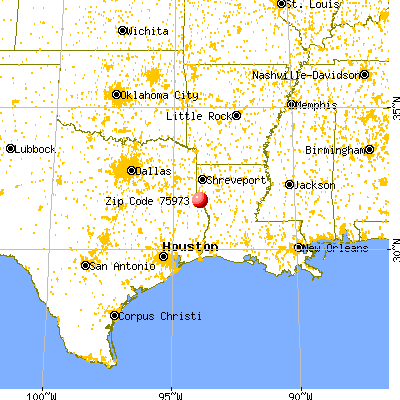 Huxley, TX (75973) map from a distance