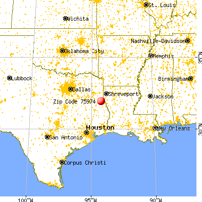 Tenaha, TX (75974) map from a distance