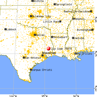 Woodville, TX (75979) map from a distance