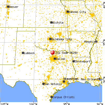 Gainesville, TX (76240) map from a distance