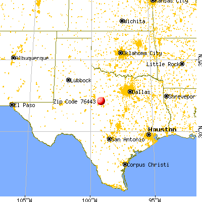 Cross Plains, TX (76443) map from a distance