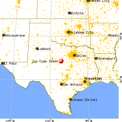 De Leon, TX (76444) map from a distance