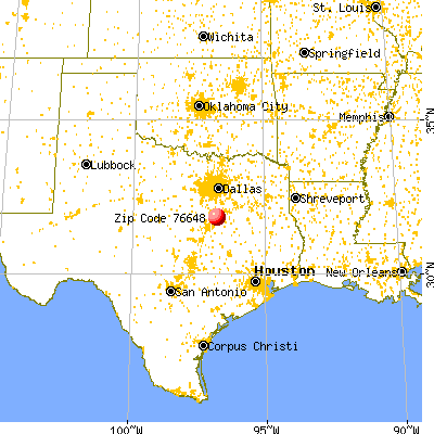 Hubbard, TX (76648) map from a distance