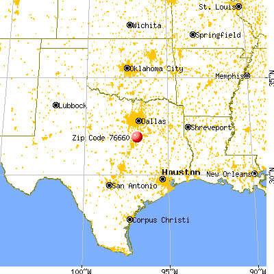 Malone, TX (76660) map from a distance