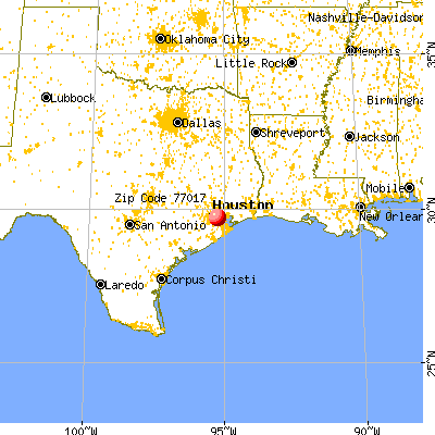 Houston, TX (77017) map from a distance