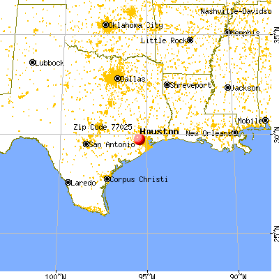 Houston, TX (77025) map from a distance