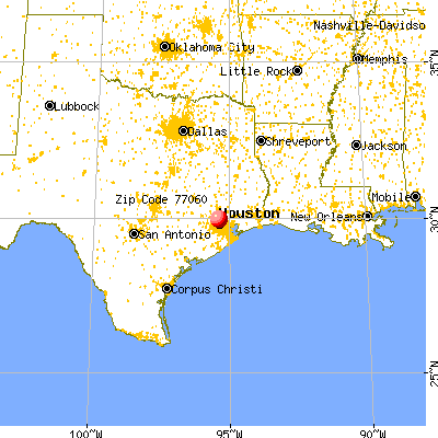 Houston, TX (77060) map from a distance