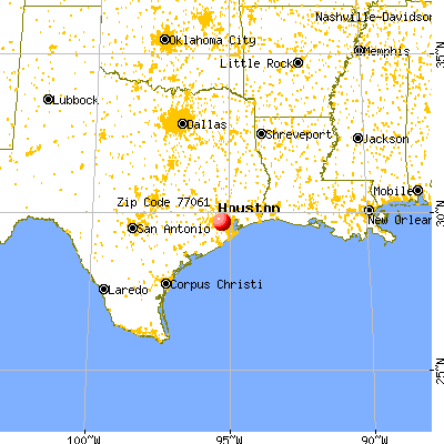 Houston, TX (77061) map from a distance