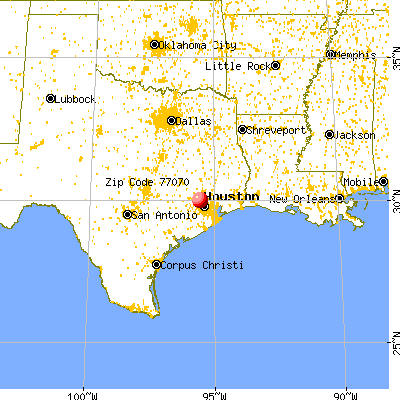Houston, TX (77070) map from a distance