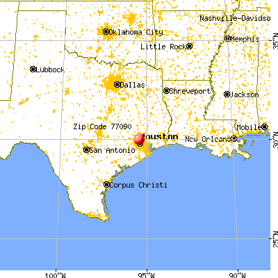 Houston, TX (77090) map from a distance