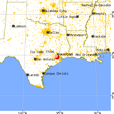 Houston, TX (77098) map from a distance