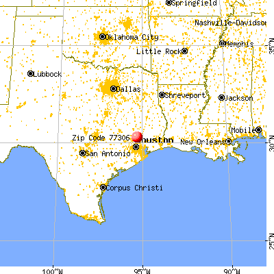 Cut and Shoot, TX (77306) map from a distance