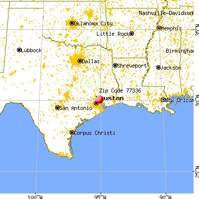 Houston, TX (77336) map from a distance