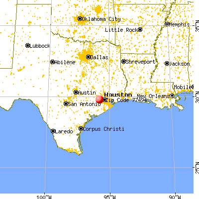 Katy, TX (77494) map from a distance