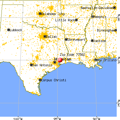 , TX (77582) map from a distance
