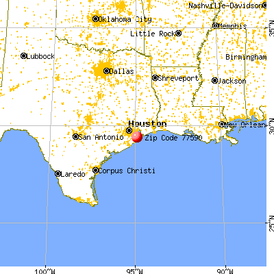 Texas City, TX (77590) map from a distance