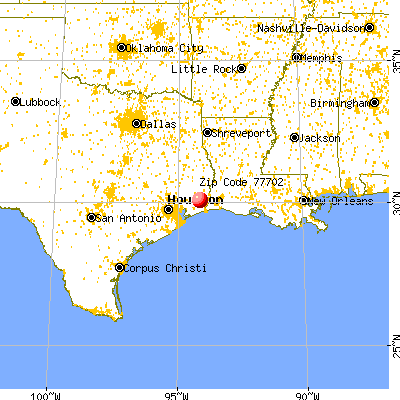 Beaumont, TX (77702) map from a distance
