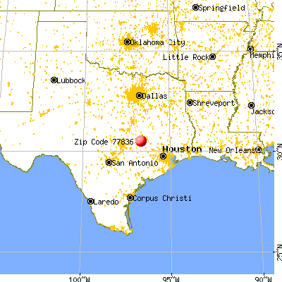 Caldwell, TX (77836) map from a distance