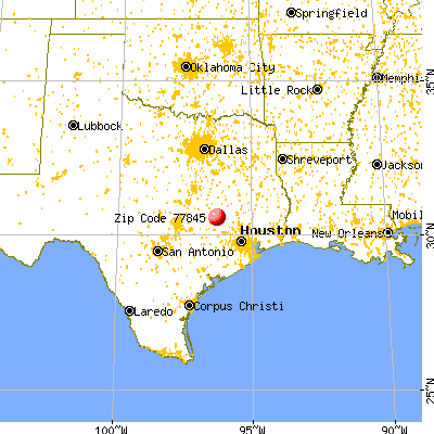 College Station, TX (77845) map from a distance