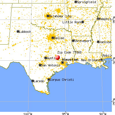 Navasota, TX (77868) map from a distance