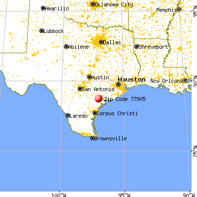 Victoria, TX (77905) map from a distance