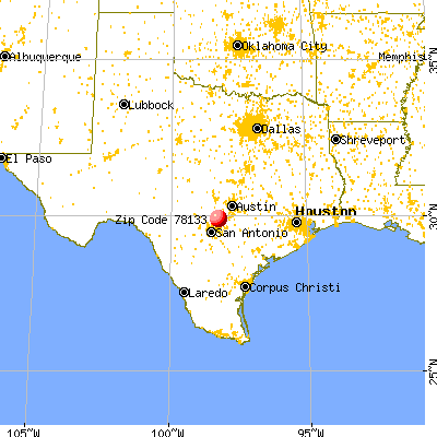 Canyon Lake, TX (78133) map from a distance