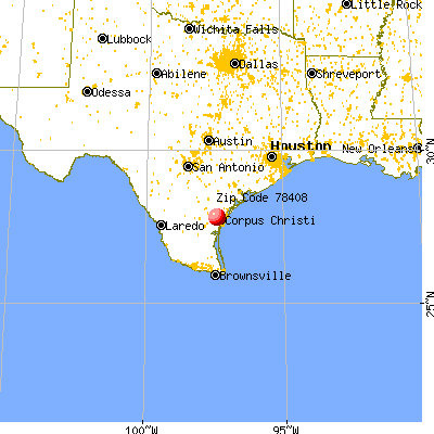 Corpus Christi, TX (78408) map from a distance