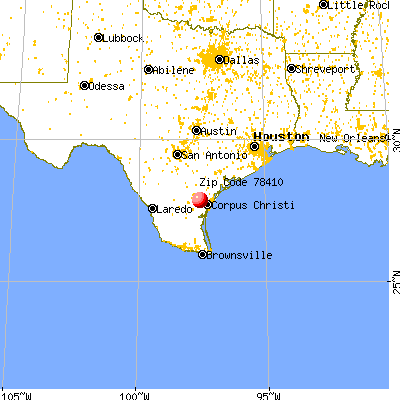 Corpus Christi, TX (78410) map from a distance