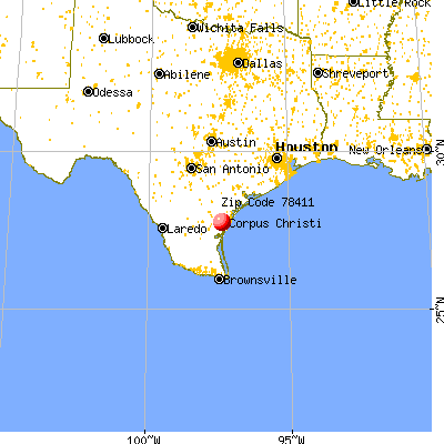 Corpus Christi, TX (78411) map from a distance