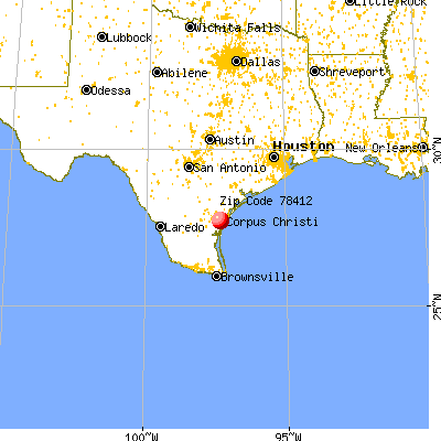 Corpus Christi, TX (78412) map from a distance