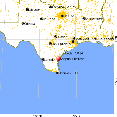 Corpus Christi, TX (78414) map from a distance