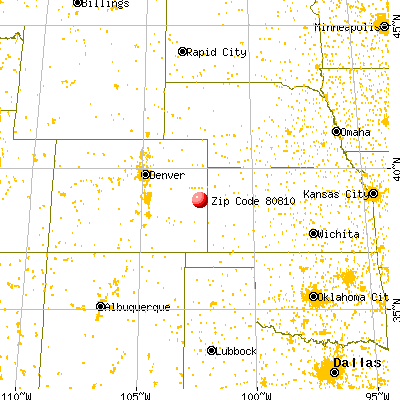 Cheyenne Wells, CO (80810) map from a distance