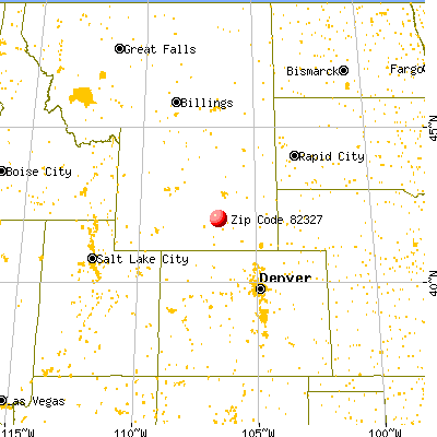 Hanna, WY (82327) map from a distance