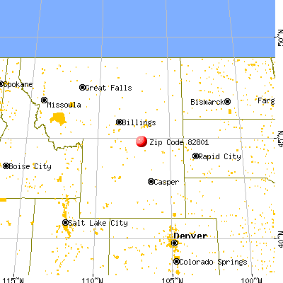 Sheridan, WY (82801) map from a distance