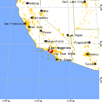 West Whittier-Los Nietos, CA (90606) map from a distance