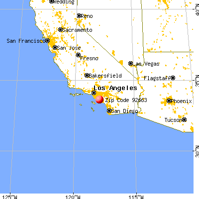 Newport Beach, CA (92663) map from a distance
