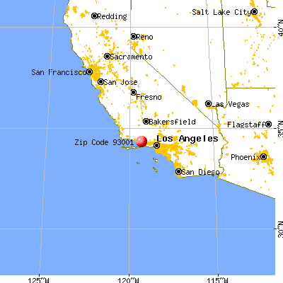 San Buenaventura (Ventura), CA (93001) map from a distance