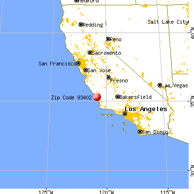 Morro Bay, CA (93402) map from a distance