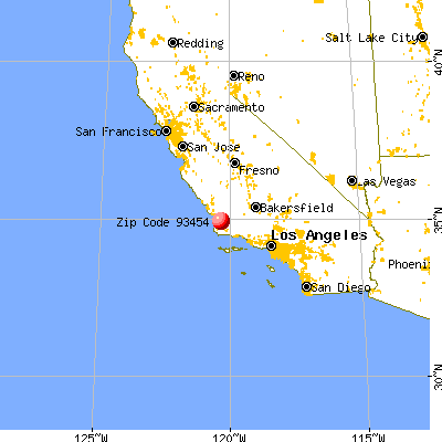 Santa Maria, CA (93454) map from a distance