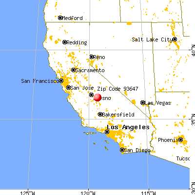East Orosi, CA (93647) map from a distance