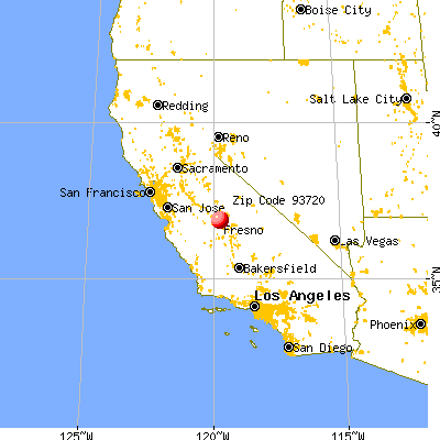 Fresno, CA (93720) map from a distance
