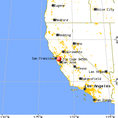 San Lorenzo, CA (94580) map from a distance