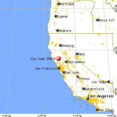, CA (95424) map from a distance