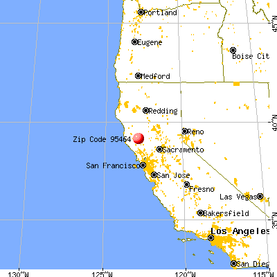Nice, CA (95464) map from a distance