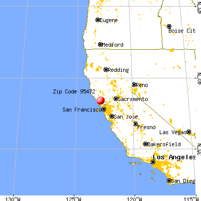 Occidental, CA (95472) map from a distance