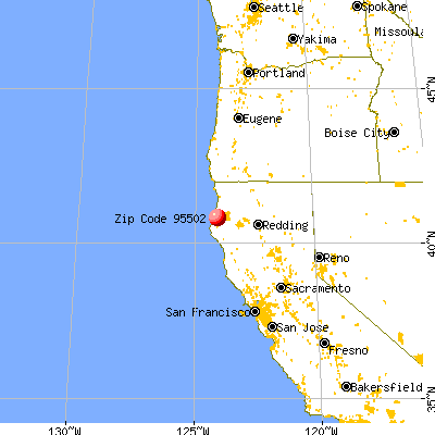 Eureka, CA (95502) map from a distance