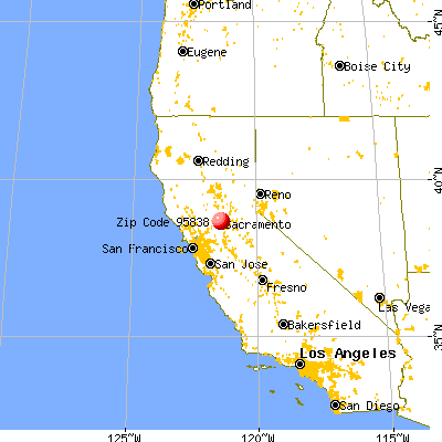 Sacramento, CA (95838) map from a distance
