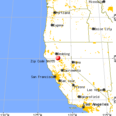 Los Molinos, CA (96055) map from a distance